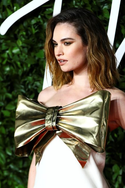 Actor Lily James arrives at The Fashion Awards 2019 held at Royal Albert Hall on December 02, 2019 in London, England. (Photo by Lisi Niesner/Reuters)
