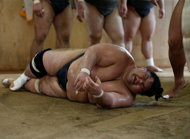 Sumo wrestler Kaiho takes part in a training session in Nagoya, Japan on July 18, 2017. (Photo by Issei Kato/Reuters)
