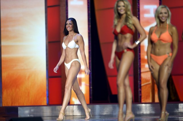 Miss Utah Krissia Beatty competes in the swimsuit competition during the first night of preliminaries of Miss America at Boardwalk Hall in Atlantic City, New Jersey, September 8, 2015. (Photo by Mark Makela/Reuters)