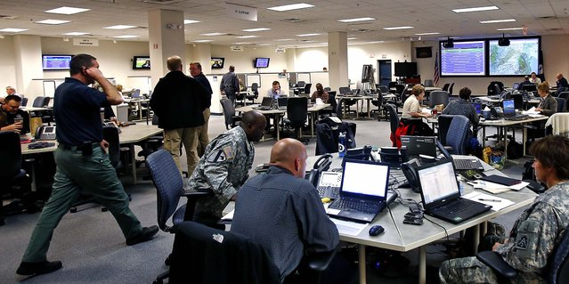 Multiple agencies work in preparation for Hurricane Sandy at the Virginia Emergency Operations Center in Chesterfield County. (Photo by Mark Gormus/Richmond Times-Dispatch)