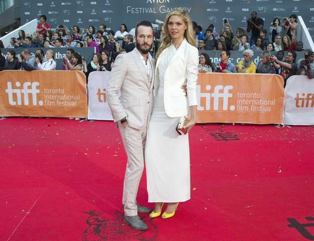 "Actor Michael Eklund arrives with his wife Megan Bennett for the premiere of the movie ""Mr. Right"" during the 40th Toronto International Film Festival in Toronto, Canada, September 19, 2015. (Photo by Fred Thornhill/Reuters)"