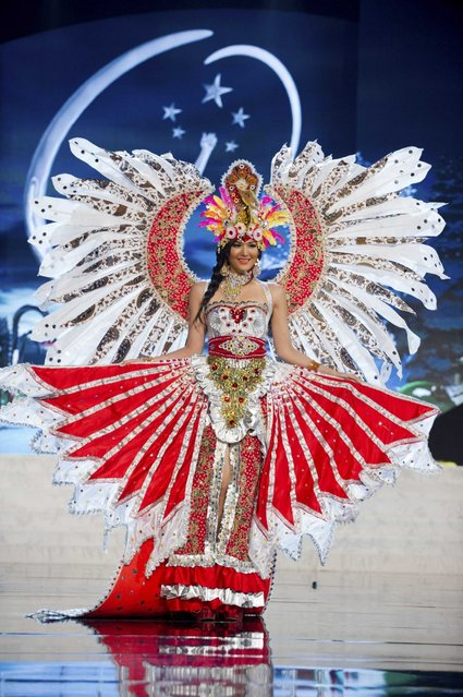 Miss Indonesia 2012, Maria Selena, performs onstage at the 2012 Miss Universe National Costume Show on Friday, December 14, 2012 at PH Live in Las Vegas, Nevada. The 89 Miss Universe Contestants will compete for the Diamond Nexus Crown on December 19, 2012. (Photo by AP Photo/Miss Universe Organization L.P., LLLP)