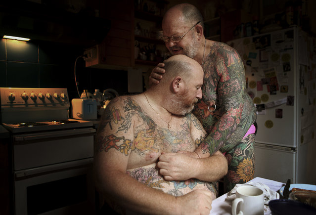 """The Embrace, from the series Hot Ink"". Taylor Wessing photographic portrait prize 2011. (Photo by Jonathan May)"