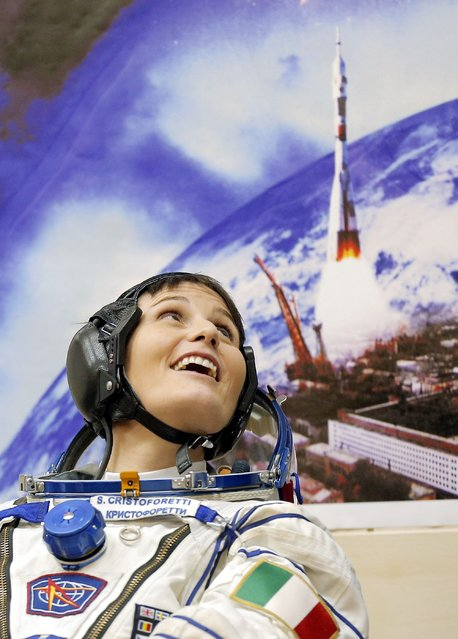 International Space Station (ISS) crew Samantha Cristoforetti of Italy attends pre-launch preparations at the Baikonur cosmodrome November 23, 2014. (Photo by Maxim Shipenkov/Reuters)