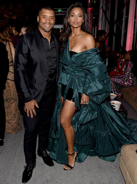 Russell Wilson and Ciara attend the 2018 Vanity Fair Oscar Party hosted by Radhika Jones at Wallis Annenberg Center for the Performing Arts on March 4, 2018 in Beverly Hills, California. (Photo by Nicholas Hunt/VF18/WireImage)