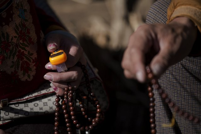 Ethnic Tibetan Buddhist believers hold electronic mantra counter (L) and prayer beads on the hill near the Larung Wuming Buddhist Institute where people gather to listen to monks' teachings in remote Sertar county, Garze Tibetan Autonomous Prefecture, Sichuan province, China October 31, 2015. (Photo by Damir Sagolj/Reuters)