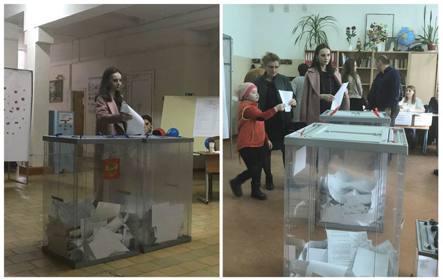 A combination picture shows a voter, casting a ballot at a polling station number 216 (L) and walking with a ballot at a polling station number 217, during the presidential election in Ust-Djeguta, Russia March 18, 2018. The voter, asked by a Reuters reporter to explain why she was voting multiple times, ignored the question and walked away. (Photo by Reuters/Staff)