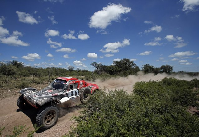 Buggy MD driver Pierre Lachaume of France drives during the 12th stage of the Dakar Rally 2015 from Termas de Rio Hondo to Rosario January 16, 2015. (Photo by Jean-Paul Pelissier/Reuters)