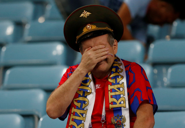 Russia fan looks dejected at the end of the Russia 2018 World Cup quarter- final football match between Russia and Croatia at the Fisht Stadium in Sochi on July 7, 2018. (Photo by Carl Recine/Reuters)