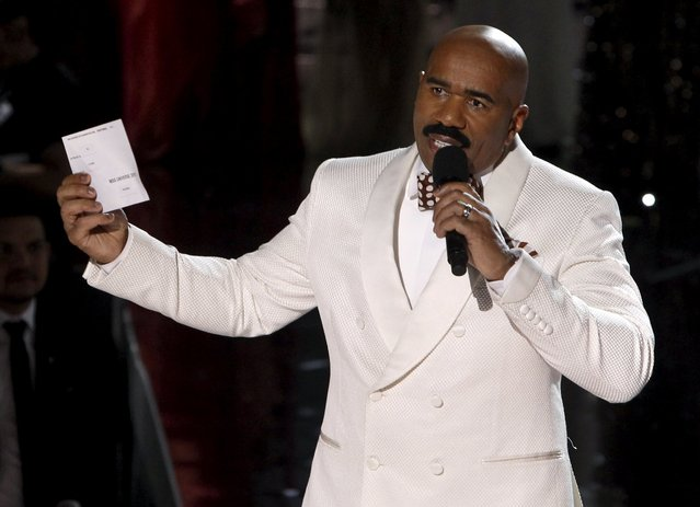 Host Steve Harvey speaks to the audience after Miss Colombia Ariadna Gutierrez was crowned Miss Universe during the 2015 Miss Universe Pageant in Las Vegas, Nevada, December 20, 2015. Harvey said he made a mistake when reading the card. Miss Philippines Pia Alonzo Wurtzbach is the actual winner. (Photo by Steve Marcus/Reuters)