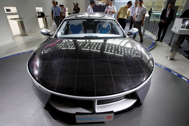 Solar panels are seen on a Hanergy Solar-R at China (Guangzhou) International Automobile Exhibition in Guangzhou, China November 18, 2016. (Photo by Bobby Yip/Reuters)