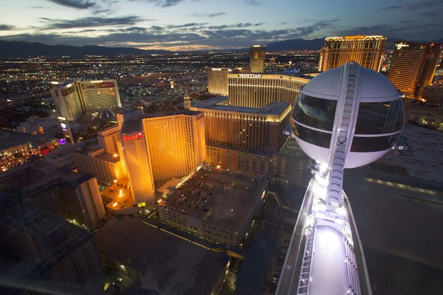 Las Vegas Strip casinos are seen from the 550 foot-tall (167.6 m) High Roller observation wheel, the tallest in the world, in Las Vegas, Nevada in this file photo from April 9, 2014. (Photo by Steve Marcus/Reuters/Las Vegas Sun)