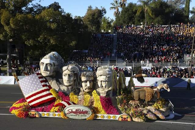 The South Dakota Department of Tourism float moves through the 127th Rose Parade in Pasadena, California January 1, 2016. (Photo by David McNew/Reuters)