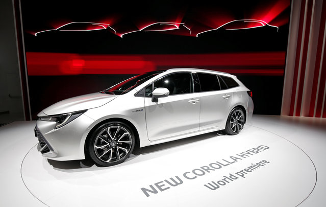 The new Toyota Corolla Hybrid car is on display at the Auto show in Paris, France, Tuesday, October 2, 2018, 2018. (Photo by Benoit Tessier/Reuters)