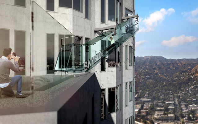 This undated artist's rendering provided by Overseas Union Enterprise Limited shows a glass slide 1,000 feet above the ground off the side of the U.S. Bank Tower in downtown Los Angeles.. (Photo by Michael Ludvik/OUE Ltd. via AP Photo)