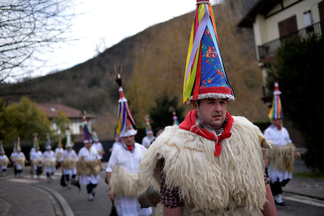 Joaldunak perform during carnival celebrations in Ituren, northern Spain January 30, 2017. (Photo by Vincent West/Reuters)