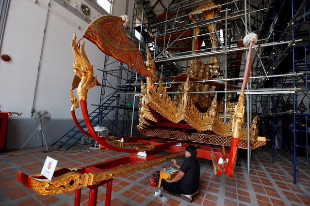 Thai officials from the Conservation Science Division of the Fine Arts Department of the National Museum of Thailand repairs the Royal Chariot, which will be used during the late King  Bhumibol Adulyadej's funeral later this year, Thailand, February 6, 2017. (Photo by Chaiwat Subprasom/Reuters)