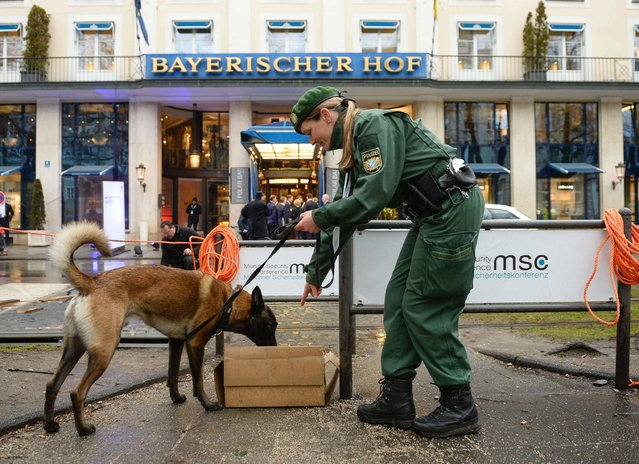 Police dog Alfi and his mistress do their work in front of the Bayerischer Hof hotel in Munich, southern Germany, on February 17, 2017, where preparations are under way for the high-profile Munich Security Conference. (Photo by Thomas Kienzle/AFP Photo)
