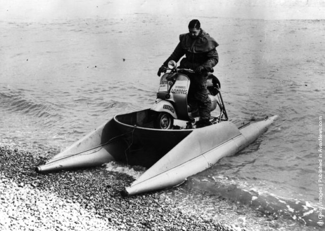 Douglas Vespa motorbike balanced on a pair of floats