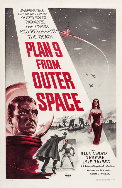 """Plan 9 from Outer Space (DCA, 1958). One Sheet (27"""" X 41""""). Eccentric director Ed Wood's cult classic science fiction opus is considered by many to be the worst movie ever made, and that status has made it a genuine classic. Plan 9 also has the distinction of being the last movie horror star Bela Lugosi ever made. Estimate: $1,500 - $3,000. (Photo by Courtesy Heritage Auctions)"""