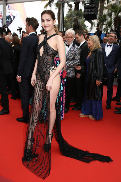 "Vietnamese model Ngoc Trinh poses as she arrives for the screening of the film ""A Hidden Life"" at the 72nd edition of the Cannes Film Festival in Cannes, southern France, on May 19, 2019. (Photo by The Mega Agency)"