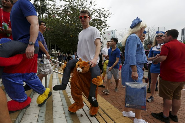 Rugby Union, Hong Kong Sevens, Hong Kong Stadium on April 9, 2016: A fan wears a pair of pants featuring a bear. (Photo by Bobby Yip/Reuters)