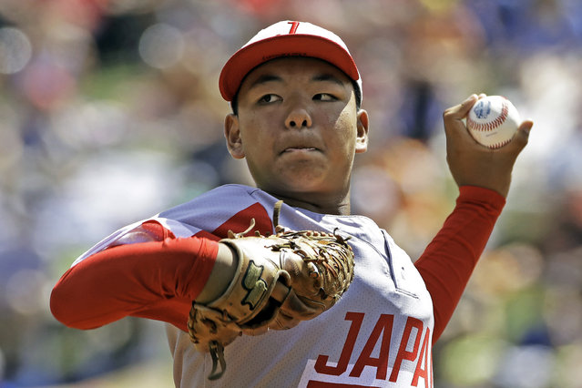 Japan's Taishi Kawaguchi (24) delivers during the second inning of the International Championship baseball game against Curacao at the Little League World Series tournament in South Williamsport, Pa., Saturday, August 24, 2019. (Photo by Gene J. Puskar/AP Photo)