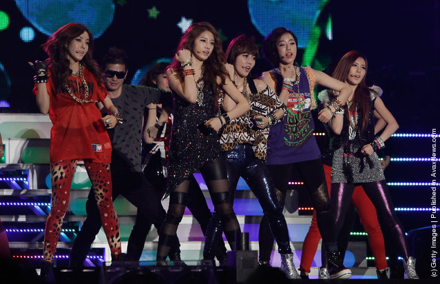 South Korean girl group T-ara perform on stage during the 21st High1 Seoul Music Awards