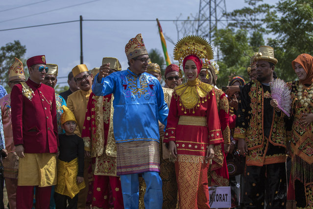 Lecturers from the Malikussaleh University campus took part in the parade of Indonesian traditional clothes to celebrate the 74th Indonesian Independence Day at the Reuleut Campus Ceremony Field, North Aceh Regency, Aceh Province, Indonesia, Saturday 17 August 2019. (Photo by Aziz Abdi/INA Photo Agency/Sipa USA)