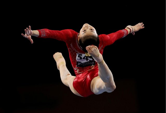 Li Shijia of China performs on the Vault during the Women's Team Final on Day 5 of the FIG Artistic Gymnastics World Championships on October 08, 2019 in Stuttgart, Germany. (Photo by Wolfgang Rattay/Reuters)