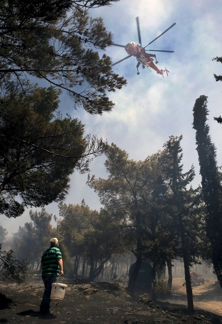 Local residents carry water to extinguish a forest fire in an Athens neighborhood as a helicopter flies overhead  July 17, 2015. (Photo by Yannis Behrakis/Reuters)