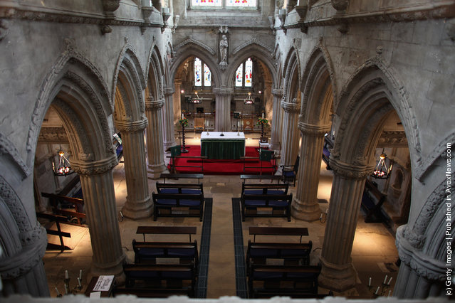 The interior of Rosslyn Chapel on February 9, 2012 in Roslin, Scotland