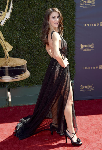 Samantha Harris arrives at the 44th Annual Daytime Emmy Awards at the Pasadena Civic Center on Sunday, April 30, 2017, in Pasadena, Calif. (Photo by Richard Shotwell/Invision/AP Photo)