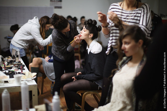 Models prepare for the Glasgow School of Art Fashion show
