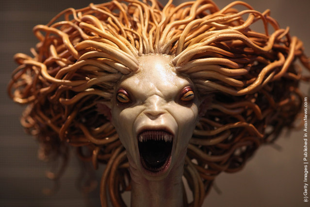 A model of a mermaid used in Harry Potter and the Goblet of Fire is displayed at the new Harry Potter Studio Tour at Warner Brothers Leavesden Studios