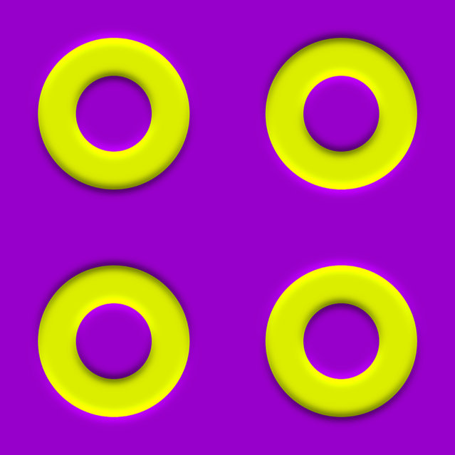 The left rings appear to approach each other, whereas the right ones appear to move apart. (Photo by Akiyoshi Kitaoka/Caters News)