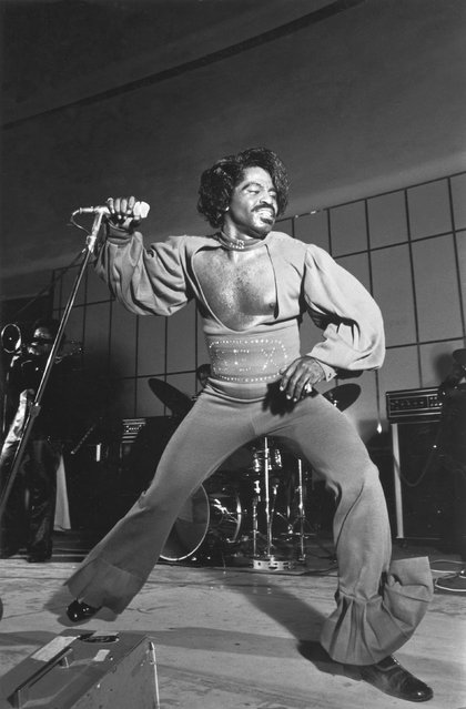Godfather of Soul James Brown performs during his 1974 nation-wide summer revue in this handout photo provided by the Ebony Collection. Johnson Publishing, parent company of struggling Ebony and Jet magazines, is seeking a buyer for the archive, which it estimates is worth more than $40 million. (Photo by Norman L. Hunter/Reuters)