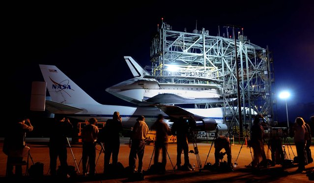 The space shuttle Endeavour is prepared Sunday, September 16, 2012 for transport on a modified Boeing 747 aircraft at the Kennedy Space Center in Cape Canaveral. The retired spacecraft was the replacement for the destroyed Challenger. (Photo by Tim Shortt/Florida Today)