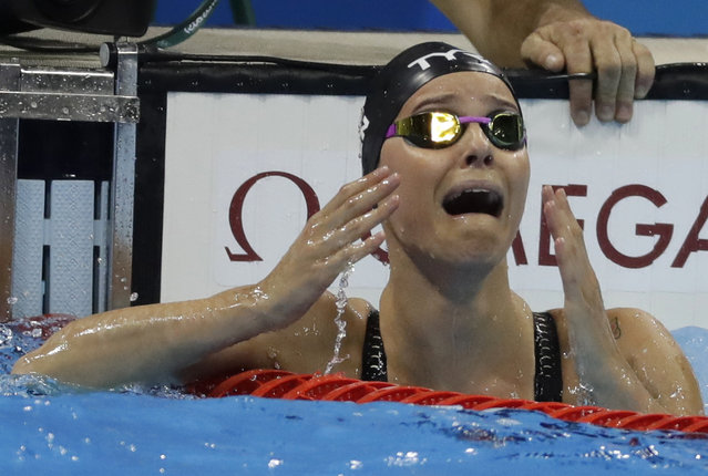 Denmark's Pernille Blume reacts after winning the women's 50-meter freestyle final during the swimming competitions at the 2016 Summer Olympics, Saturday, August 13, 2016, in Rio de Janeiro, Brazil. (Photo by Rebecca Blackwell/AP Photo)
