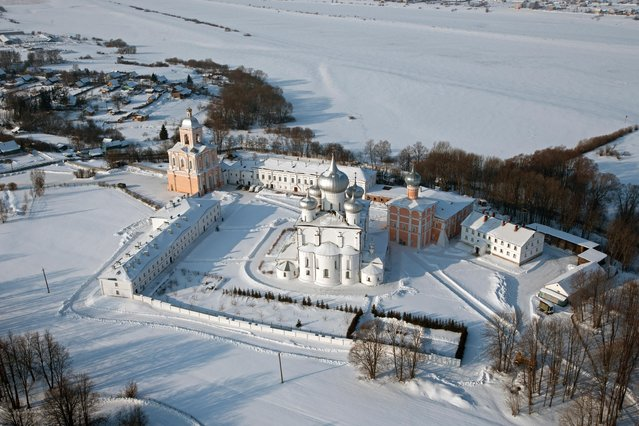 "Russia From Above: ""Snow-Covered Monastery"". The Khutyn Monastery of Saviour's Transfiguration and of St. Varlaam, on the right bank of the Volkhov River near Novgorod. (Photo by Sergey Fomin)"