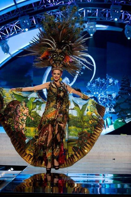 Miss Ecuador 2012, Carolina Andrea Aguirre Pérez, performs onstage at the 2012 Miss Universe National Costume Show on Friday, December 14, 2012 at PH Live in Las Vegas, Nevada. The 89 Miss Universe Contestants will compete for the Diamond Nexus Crown on December 19, 2012. (Photo by AP Photo/Miss Universe Organization L.P., LLLP)