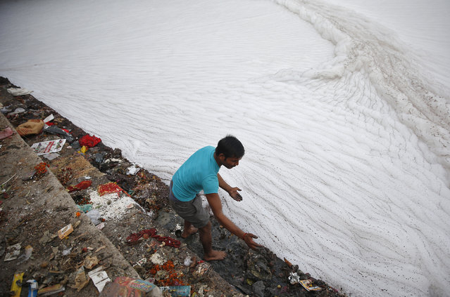 A man cleans the stairs on the banks of polluted river Yamuna before Hindu devotees started worshipping the Sun god Surya during the Hindu religious festival of Chatt Puja in New Delhi October 29, 2014. (Photo by Ahmad Masood/Reuters)