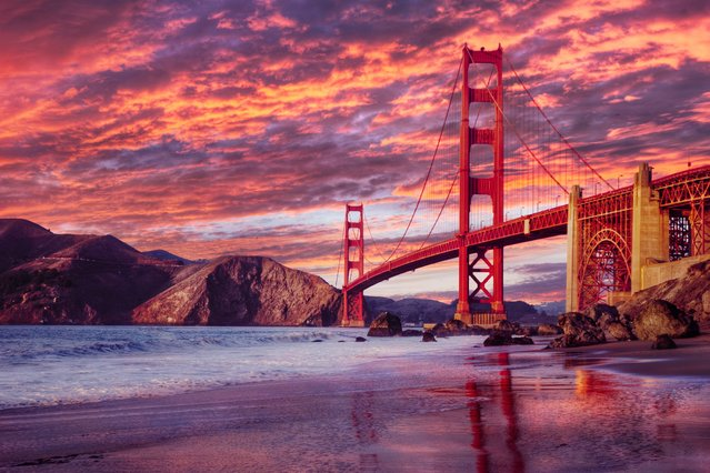 Golden Gate Bridge at sunset. (Photo by Lonely Planet Images)