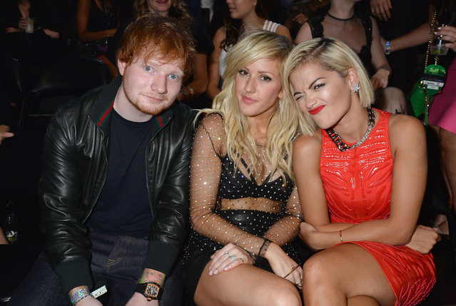 (L-R) Ed Sheeran, Ellie Goulding and Rita Ora attend the 2013 MTV Video Music Awards at the Barclays Center on August 25, 2013 in the Brooklyn borough of New York City. (Photo by Jeff Kravitz/FilmMagic for MTV)