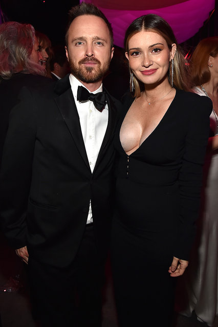 Aaron Paul and Lauren Paul attend the 2018 Vanity Fair Oscar Party hosted by Radhika Jones at Wallis Annenberg Center for the Performing Arts on March 4, 2018 in Beverly Hills, California. (Photo by Kevin Mazur/VF18/WireImage)