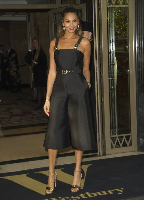 Television presenter Alesha Dixon is seen arriving outside The Westbury Hotel in London, England on October 5, 2016, for the showcase of her latest fashion collection. The star showed off her sophisticated style in a black romper and a pair of high-heeled gold sandals. (Photo by FameFlynet UK)