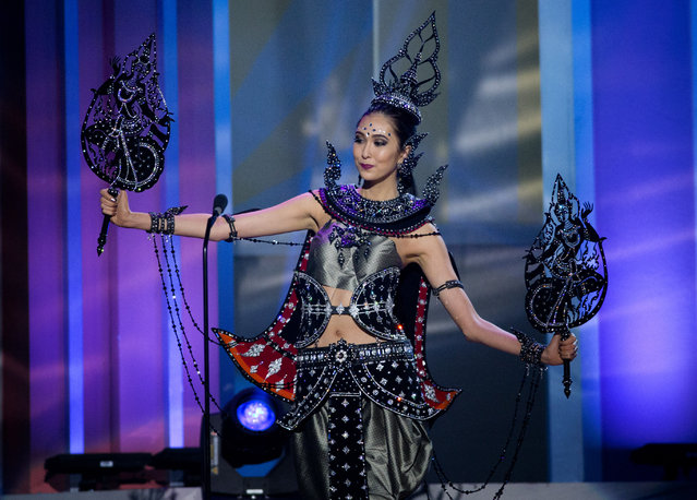 Miss Thailand, Pimbongkod Chankaew,  poses for the judges, during the national costume show during the 63rd annual Miss Universe Competition in Miami, Fla., Wednesday, January 21, 2015. (Photo by J. Pat Carter/AP Photo)