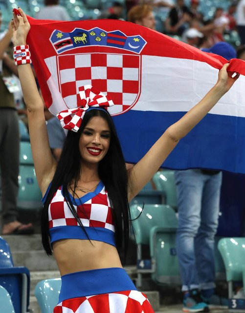 A Croatian fan reacts in the quarterfinal match against Russia during the 2018 FIFA World Cup in Sochi, Russia, 7 July 2018. (Photo by Alamy Live News)