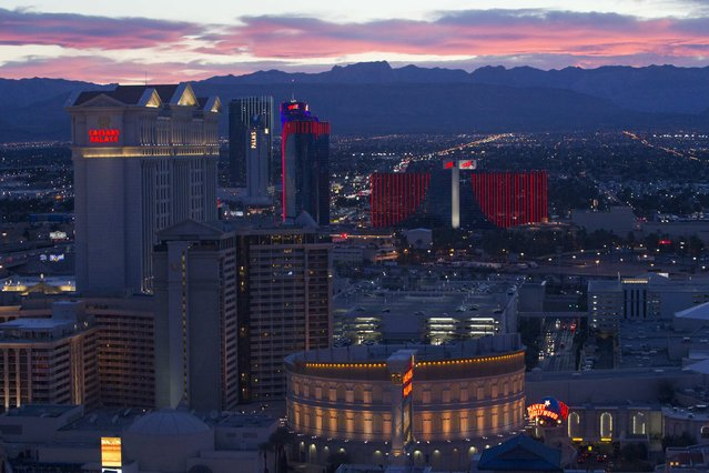 Las Vegas Strip casinos are seen from the 550 foot-tall (167.6 m) High Roller observation wheel, the tallest in the world, in Las Vegas, Nevada in this April 9, 2014 file photo. (Photo by Steve Marcus/Reuters/Las Vegas Sun)