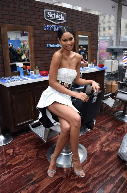 Schick Hydro and Chanel Iman get guys #NakedFaced at the Schick Hydro Barbershop at The Sports Illustrated Swim City Event on February 9, 2015 in New York City. (Photo by Ilya S. Savenok/Getty Images for Schick)